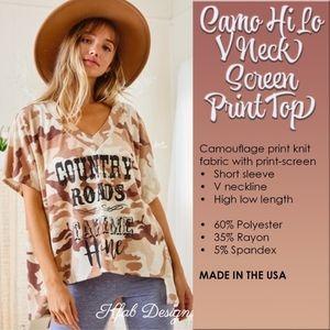 Camo Hi Lo V Neck Screen Print Top